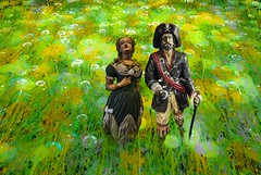 The Pirate and his Lady (Rusty Russ) Tags: pirate lady field flowers green yellow love peg leg hook tiptoe through tulips photoshop flickr google bing daum yahoo image stumbleupon facebook getty national geographic magazine creative creativity montage composite manipulation color hue saturation flickrhivemind pinterest reddit flickriver t pixelpeeper blog blogs openuniversity flic twitter alpilo commons wiki wikimedia worldskills oceannetworks ilri comflight newsroom fiveprime photoscape winners all