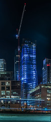 when completed in early 2017, 181 fremont  will be the tallest residential building on the west coast (pbo31) Tags: sanfrancisco california city blue urban panorama black color vertical skyline architecture night evening construction nikon crane may large panoramic fremont highrise bayarea residential stitched 181 folsomstreet 2016 transitterminal rinconhill boury pbo31 d810 financialdistrictsouth
