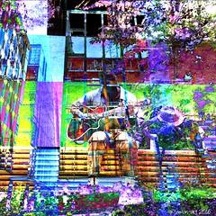 Regeneration (Lemon~art) Tags: new city light music man colour london texture garden bench guitar manipulation photomontage layers generation regeneration buildingwork