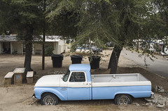 Yarnell, Arizona; 2014 (GC_Dean) Tags: street trees arizona color tree colors truck flora memorial colours pickup pickuptruck structure mundane emptiness picnictable yarnell sociallandscape granitemountainhotshots