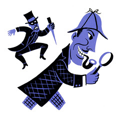 Coda December 1944 - Basil Rathbone (Al Q) Tags: illustration december columbia basil holmes 1944 sherlock coda detective jimflora rathbone