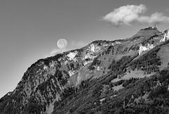 Full Moonset - Vollmonduntergang (macplatti) Tags: blackandwhite bw monochrome austria fullmoon schwarzweiss moonset aut vollmond vorarlberg koblach