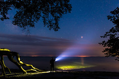 On The Beach (M.R.Bach) Tags: ocean sky mars tree beach night canon dark stars eos long exposure skies deadtree planet flashlight tamron 6d 2470mm widefieldastrophotography