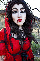 Through the Woods 7631 (JoDi War) Tags: trees sunset red wild nature grass fairytale dark lost blood woods wolf dress boots lace gothic victorian velvet hood storybook rhyme grandmothershouse nurseryrhyme throughthewoods storytale