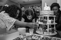 (heatherbirdtx) Tags: wedding blackandwhite home cake houseparty table women candid interior reception cupcake arrange