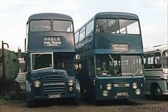 08-77 Blue Line DUG166C, PD3/A/1 and HWW763J at Armthorpe. (dubdee) Tags: bus blueline roe doubledecker daimler leyland reliance sypte crg6lx charleshroe pd3a1 kippaxanddistrict dug166c hww763j