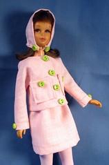 Francie Pale Pink Suit (Debras Closet) Tags: pink green mod francie dollclothes