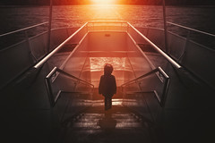 Another journey (Chrisnaton) Tags: childhood stairs kid ship surreal symmetry journey downstairs eveninglight eveningmood eveningcolors