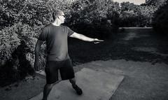 Josh Lines Up Drive (VBuckley.com) Tags: abendschein park sunset goldenhour bw splittone blackandwhite discgolf frisbeegolf discing wisconsin summer happy josh narvett buckley vincentbuckley abendscheincommunitypark canon 5d fun