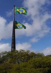 Seeing double  .  .  . (ericrstoner) Tags: braslia bandeira flag flagpole distritofederal brazilianflag praadostrspoderes mastro bandeiradobrasil srgiobernardes mastroespecialdapraadostrspoderes pavilhonacionaldobrasi mastronacionaldobrasil