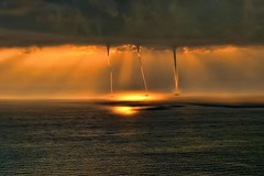 Waterspouts on the Mediterranean off the coast of Turkey | Photography by Mehmet Gokyigit (manbeachrm) Tags: blue sunset pordosol orange cloud sun silhouette clouds sunrise landscapes tramonto sundown horizon natur sunsets puestadesol naturelovers naturelover   sunsetporn skyporn skylovers sunsetstream landscapelovers instasky landscapecaptures trbsunsetsfx piclogy skylinenatureperfection