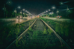 Night Rail (A Great Capture) Tags: city railroad urban toronto ontario canada night train dark lights spring weeds downtown track photographer nightshot tracks rail railway canadian growth nighttime growing lakeshoreblvd springtime unused on agc 2016 ald carlaw jamesmitchell ash2276 adjm wwwagreatcapturecom agreatcapture mobilejay
