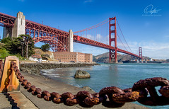 Day By The Bay (Drifton) Tags: sanfrancisco morning bridge red summer sky cloud water clouds point golden bay rust gate san francisco ship suspension fort outdoor cable calm chain container clear msc
