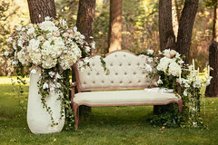 luxury wedding decorations with bench, candle and flowers compisition on ceremony place (thuvienanh89) Tags: wood flowers wedding sunlight white flower green texture love nature floral beautiful beauty grass rose forest bench bride wooden day candle foto natural outdoor background country rustic decoration ceremony style ukraine fresh celebration bunch bouquet bridal decor arrangement zone candlestick