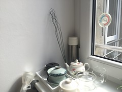 Corner of tea things (mpieracci) Tags: tea pot thermometer thermos gaiwan