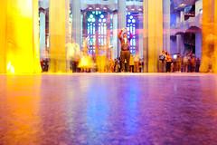 Sagrada Famlia People Movement (Jean-Paul Navarro) Tags: barcelona spain catalonia catalunya barca europe sagrada famlia sagradafamlia basilica baslica temple expiatori baslicaitempleexpiatoridelasagradafamlia antoni gaud antonigaud church interior stained glass windows color people light
