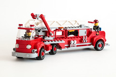Vintage Open Cab Fire Truck (Galaktek) Tags: city red truck vintage fire lego mercedesbenz vehicle minifig foitsop galaktek