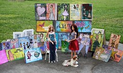 Barbie Makes A Sale At The Art Fair. (clayangel_sc) Tags: artcards art doodles indexcardaday icad aceo ooak draw indexcards dress girl 4x6 mixedmediabarbie doll oneobjectproject oneobject 100possibilities prop pink fashiondoll pose stilllife vignettebarbie differentsituations diorama toy project barbiephotography photography smallworld toys playlinebarbie shoes highheels fasionistas mixedmedia barbie raquelle money sale artfair
