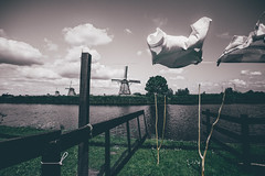 Hanging Garments (that mad hatter's teacup) Tags: travel art love nature windmill landscape europe wind clothes explore hanging kinderdijk garments