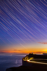 (drfugo) Tags: sunset sea england lighthouse night stars lights star sussex bluehour beachyhead startrail belletout canon50mmf18ii canon5dmkii