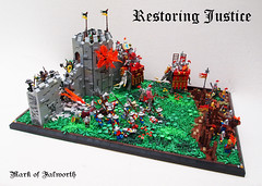 (LCC GC4) Restoring Justice (Mark of Falworth) Tags: castle landscape war lego battle scene siege lcc moc loreos lenfald