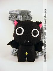 Vampire Neko Nyanpire (SWStitchery) Tags: pink black anime cat wings kitten keychain cross handmade vampire bat charm plush ornament neko fangs limitededition embroidered swstitchery staticwhite nyanpire
