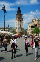 Krakow, Poland (James_2nd) Tags: blue ladies sky people tower clouds square fuji market poland krakow x100