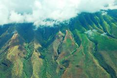 Ridges (moke076) Tags: trip travel vacation mountains window clouds plane hawaii flying looking seat down aerial greenery overhead ridges molokai topography mokulele 2013