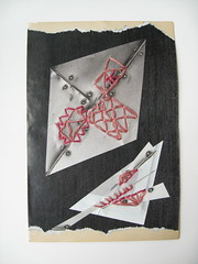 "DAY 300 - 12/12 - ""Lopped"" (The Paper Button Studios) Tags: abstract art thread collage weird mixedmedia sewing chopped sliced homedecor cutoff lopped sewonpaper karimcdonald"