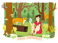 Anne Theriault's Forest Illustration (Jessica Rae Gordon) Tags: park trees woman art girl illustration forest reading book woods squirrel sitting chipmunk fox commission papercut glade jessicaraegordon