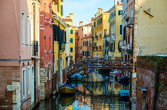 Venice (fede_gen88) Tags: bridge venice italy water colors yellow buildings reflections canal nikon colorful europe italia colours colourful venezia veneto d5100