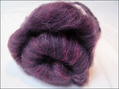Red-purple Wheel of Fortune batt (Needleloca) Tags: stash spinning fiber ribbet batts 2013