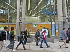 BostonLiftAboveRushHour (fotosqrrl) Tags: urban boston massachusetts streetphotography rushhour walgreens washingtonstreet scissorlift schoolstreet