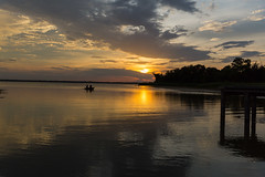 Afternoon Fishing (Zeal4g) Tags: bridge sunset sun lake clouds boats evening boat fishing ray time boating hubbard