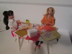 Lisa annd Poppy scrapbooking... (Pumpkin Hill Studios/King William Miniatures) Tags: scrapbook barbie diorama crafting fashionroyalty fashiondolls 16scale playscale 081213 poppyparker