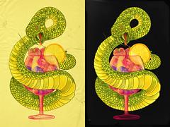 Viper on a Diet (choppre) Tags: orange green glass fruits watercolor dessert strawberry berries reptile snake brunch raspberry diet viper eco epic emile herbivore choppre nubreedlab kumfa choppreartist choppreart