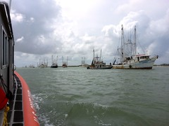Mexican shrimping vessels escorted out of safe harbor in US as weather calms (Coast Guard News) Tags: coastguard mexico us cg unitedstates tx hurricane southpadreisland gamewarden uscg cbp massexodus tpwd msstgalveston padethouston forcemajure stationspi
