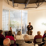 """<b>PhyllisYes_AL_01</b><br/> David Kamm says some opening remarkes at the reception for Phyllis Yes' exhibition in the CFA during homecoming 2013. September 5th 2013.  Photo by Aaron Lurth<a href=""""http://farm8.static.flickr.com/7302/10141216063_22e5cc8996_o.jpg"""" title=""""High res"""">∝</a>"""