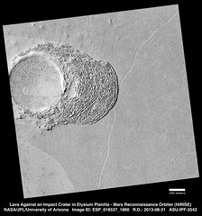 Lava Against an Impact Crater in Elysium Planitia (Lunar and Planetary Institute) Tags: mars lava craters marsreconnaissanceorbiter