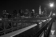 A Night on the Brooklyn Bridge (Will Vargas) Tags: nyc newyorkcity bridge blackandwhite ny newyork landscape brooklynbridge williamvargas vargasphotos