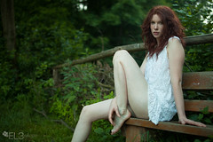 IMG_2751 (EL3 IMAGERY 2014) Tags: flowers summer white nature girl beauty lady forest ginger long dress natural legs skin pale redhead german gown redhair maiden