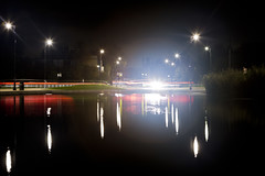 White Stone Pond 4 (fsm vpggru) Tags: longexposure reflection london night canon reflections lights trails slowshutter streaks hampsteadheath mkiii shutterdrag 2370 5dmkiii 5dmk3 5d3