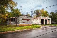 Abandoned Ponies (Sam Seizert) Tags: street trees house color fall ford abandoned home overgrown michigan garage detroit creepy powerlines abandon mustang