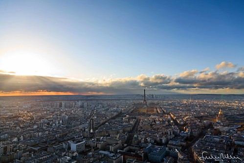 Sunset over Paris skyline