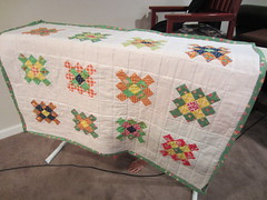 Granny Square Baby Quilt (just me, molly) Tags: irish orange baby white green modern square quilt squares sash quilting quilted granny binding baste grannysquare basting bind babyquilt sashing grannysquarequilt