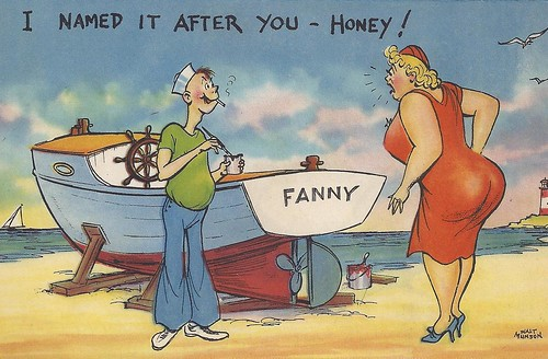 Funny, Comic, Comical, Boat, Name Fanny, Woman, Lady, Rear End, Ass, I Named It After You, Honey, Fanny