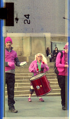 Sheffield Samba Band (pho-Tony) Tags: auto street camera old pink musician music color colour miniature samba boots pentax drum mark percussion branded sheffield 110 band spot cast damage drummer aged drumming pocket expired 16mm rhythm instamatic cartridge outdated speckle expiredfilm deterioration mottle c41 pentaxauto110 peaceinthepark mottling bootsfilm sheffieldsambaband multicamsource