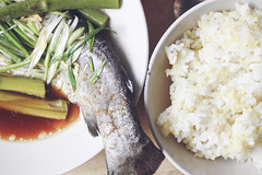 IMG_9605 (ais3n) Tags: light food fish green canon lens asian lunch photography eos 50mm prime ginger daylight wooden spring dish rice sauce chinese plate bowl onions asparagus greens 7d fixed soy steamed trout f18 dslr length scallions platter strips slices available focal ais3n slicess