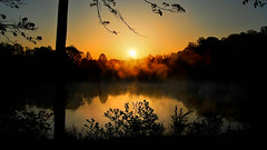 Morning of futures past (Sky Noir) Tags: orange sun mist lake yellow fog sunrise gold virginia still pond quiet relaxing restful peaceful calm future mornings serene past limpid revisited undisturbed mkd skynoir