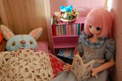 A Bedtime Story (Emily1957) Tags: pink blue light anime rabbit bunny bunnies easter toy toys reading book nikon doll dolls basket lace egg kitlens books kawaii eggs rabbits azone belgianlace nikond40 kinokojuice jiajiadoll frut444 dewdropteddybears sweetdreamchiika alailadoll